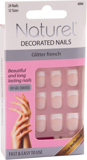 Naturel kynnet glitter french
